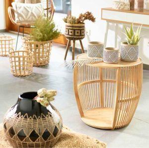 Bambustisch rund Handmade